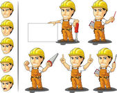Industrial Construction Worker Mascot 3 — Stok Vektör