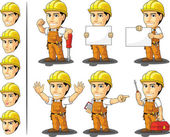 Industrial Construction Worker Mascot — Vettoriale Stock