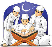 Kids Learn to Read Al-Quran with Their Parent — Stockvector