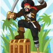 Постер, плакат: Pirate with His Treasure Chest