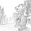 Sketch of Singapore Tourism Landmark - Merlion — Vector de stock