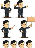 Businessman or Office Executive Customizable Mascot 3 — Stock Vector