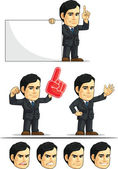 Businessman or Office Executive Customizable Mascot 5 — Stock Vector