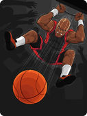 Basketball Player Doing Slam Dunk — Stock Vector