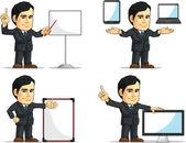 Mascote customizável executivo empresário ou escritório 12 — Vetor de Stock