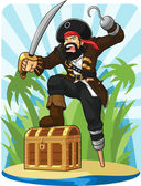 Pirate with His Treasure Chest — Stock Vector