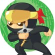 Постер, плакат: Cartoon of Ninja Holding Shuriken