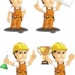 Industrial Construction Worker Customizable Mascot 5 — Stock Vector