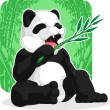 Panda Eating Bamboo Leaves — Stock Vector