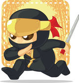 Cartoon of Ninja Holding Japanese Sword — Stock Vector