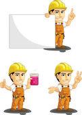 Industrial Construction Worker Customizable Mascot 6 — Stock Vector