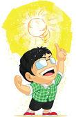 Kid Having a Light Bulb Idea — Stock Vector
