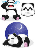 Panda Set 2 - Sleeping, Crying, Panda Head — Stock Vector