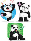 Panda Set - Happy, Waving Hand, Eating Bamboo — Stock Vector