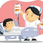 Cartoon of Nurse Helping Child Patient — Stock Vector #43860949