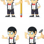 Nerd Boy Customizable Mascot 5 — Stock Vector
