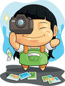 Cartoon of Girl Loves Photography — Stock Vector