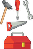 Hand Tool - Hammer, Screwdriver, Wrench, Saw & Tool Box — Stock Vector