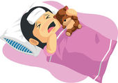 Cartoon of Little Girl Having A Fever — 图库矢量图片