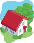 Isometric Cartoon House — Stock Vector