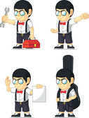 Nerd Boy Customizable Mascot 7 — Stock Vector