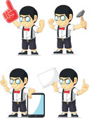 Nerd Boy Customizable Mascot 11 — Stock Vector