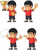 Voetbal jongen aanpasbare mascotte 2 — Stockvector