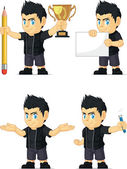 Spiky Rocker Boy Customizable Mascot 3 — Stock Vector