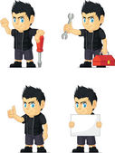 Spiky Rocker Boy Customizable Mascot 9 — Stock Vector