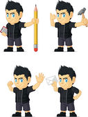 Spiky Rocker Boy Customizable Mascot 10 — Stock Vector