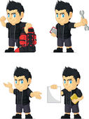 Spiky Rocker Boy Customizable Mascot 11 — Stock Vector