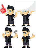 Spiky Rocker Boy Customizable Mascot 13 — Stock Vector