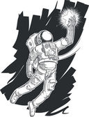 Sketch of Astronaut or Spaceman Grabbing a Star — Stock Vector