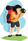 Backpacker Girl Taking Photo — Stock Vector