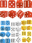 Dice in Several Positions and Colors — Stock Vector