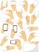 Hand Sign Collection - Holding Sign and Gadget Gestures — Stock Vector