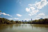 NYC Central Park lake skyline reflection up — Stock Photo