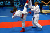 Karate fighters in action — Stock Photo