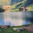 Lake and chalet at the foot of mountain — Stock Photo #17334191