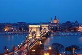 Danube and the Chain Bridge in Budapest — Stock Photo