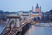 View of the Chain Bridge in Budapest — Stock Photo