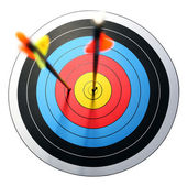 Arrow hits target, one missed — Stock Photo