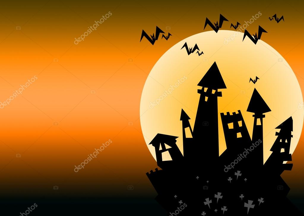 Halloween castle orange background — Stock Photo #13324554