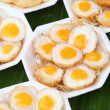 Fried partridge's eggs, Thai street food — Stock Photo