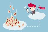 Businessman working on cloud, vector cartoon — Stock Vector