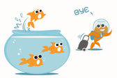 Goldfish leaving tank — Stock Vector