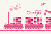 Cargo - logistic by train — Stock Vector
