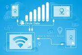 Bilgisayar-mobil ağ — Stok Vektör
