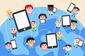 Computer and networking, cartoon vector — Stock Vector