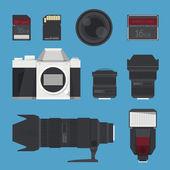 DSLR digital camera accessories. — Stock Vector